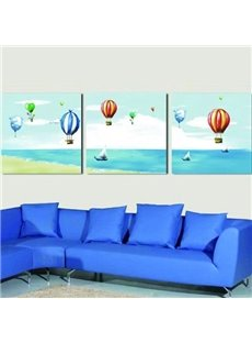 New Arrival Lovely Colorful Hot-air Balloons Print 3-piece Cross Film Wall Art Prints