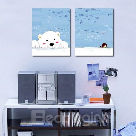 New Arrival Lovely Bear and Little Girl Print 2-piece Cross Film Wall Art Prints