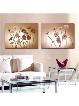 New Arrival Elegant Grey Daisy Flowers Print 2-piece Cross Film Wall Art Prints