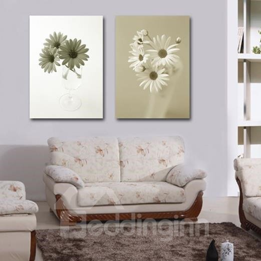 New Arrival Lovely Daisy Flowers in Glass Print 2-piece Cross Film Wall Art Prints