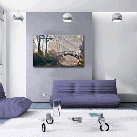 New Arrival Beautiful Wooden Bridge in Forest Print Cross Film Wall Art Prints