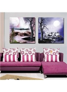 New Arrival Beautiful Old Trees and Moon Print 2-piece White Cross Film Wall Art Prints