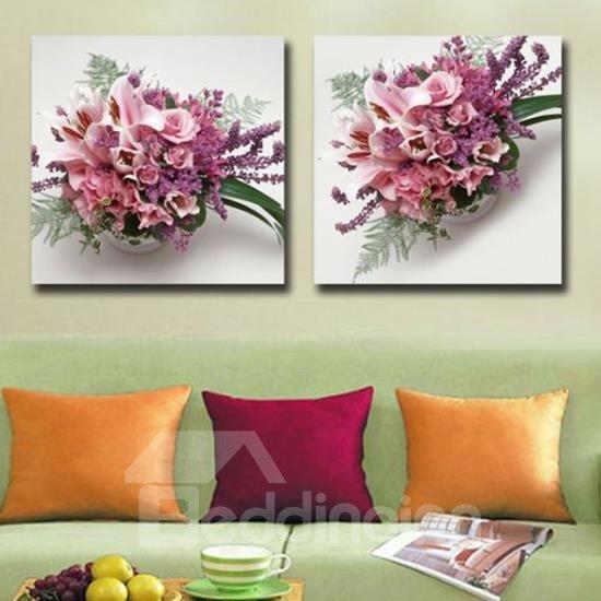 New Arrival Beautiful Pink Flower Sets Print 2-piece White Cross Film Wall Art Prints