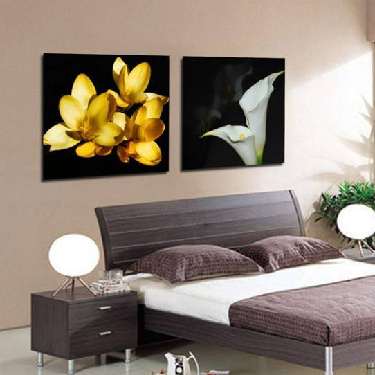 New Arrival Elegant White Calla and Yellow Flowers Print 2-piece White Cross Film Wall Art Prints 10885413