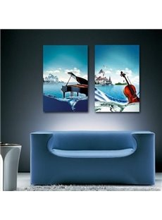 New Arrival Beautiful Piano and Violin Print 2-piece Cross Film Wall Art Prints