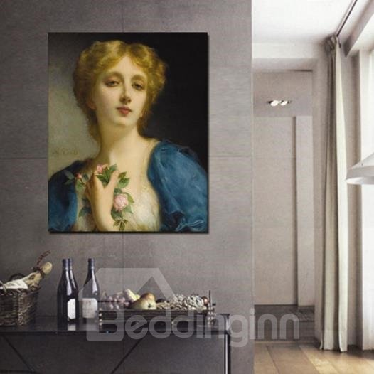 New Arrival Beautiful Lady in Blue Coat Painting Print Cross Film Wall Art Prints