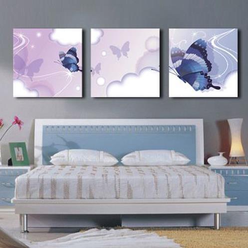 New Arrival Lovely Blue Butterflies Print 3-piece Cross Film Wall Art Prints