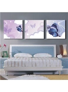 New Arrival Lovely Blue Butterflies Print 3-piece Cross Film Wall Art Prints