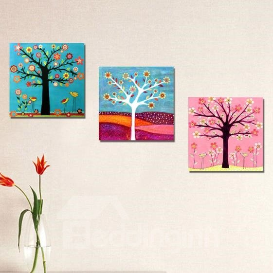 New Arrival Cute Colorful Flowers and Trees Print 3-piece Cross Film Wall Art Prints