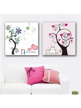 New Arrival Lovely Cartoon Trees Print 2-piece White Cross Film Wall Art Prints