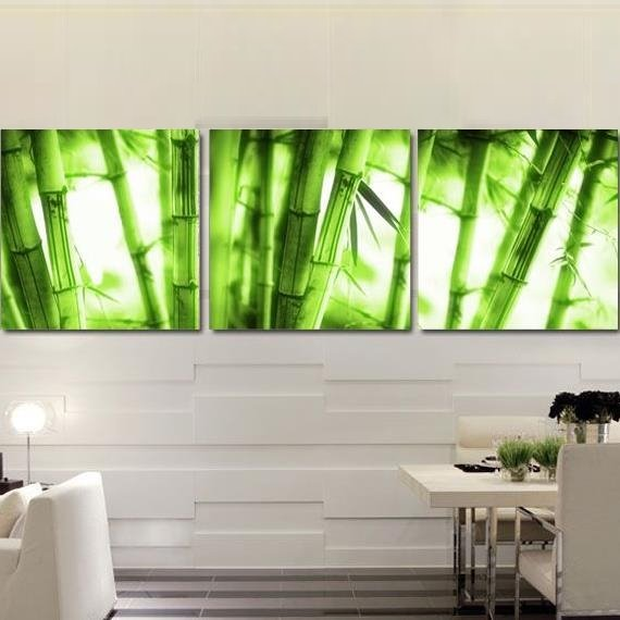 Natural Green Bamboos Print 3-piece Cross Film Wall Art Prints