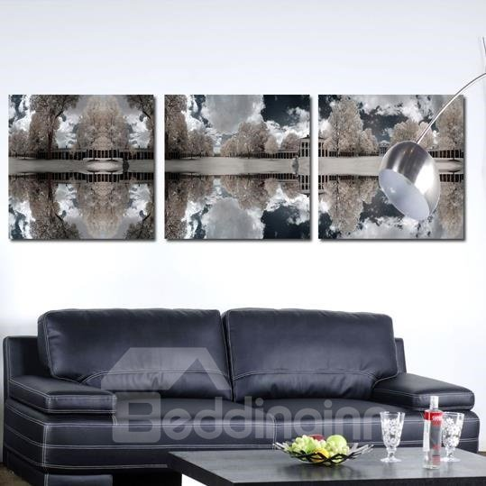 New Arrival Elegant Grey Trees and Shadows Print 3-piece Cross Film Wall Art Prints