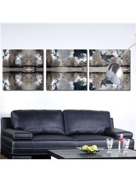 New Arrival Elegant Grey Trees and Shadows Print 3-piece Cross Film Wall Art Prints