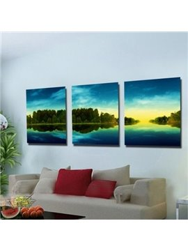 New Arrival Beautiful Green Trees and Blue Sky Print 3-piece Cross Film Wall Art Prints