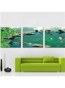 New Arrival Beautiful Lotus and Cobblestones Print 3-piece Cross Film Wall Art Prints