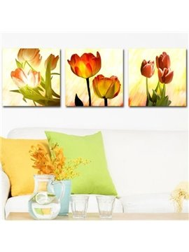 New Arrival Beautiful Golden Red Tulips Print 3-piece Cross Film Wall Art Prints