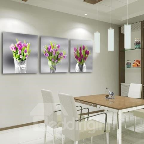 New Arrival Beautiful Purple Flowers in Glass Vase Print 3-piece Cross Film Wall Art Prints