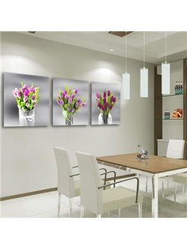 New Arrival Beautiful Purple Flowers in Glass Vase Print 3-piece Cross Film Wall Art Prints