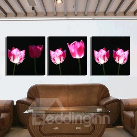 New Arrival Stunning Pink Tulips Print 3-piece Cross Film Wall Art Prints
