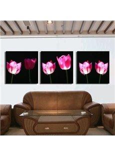 New Arrival Stunning Pink Tulips Print 3-piece Cross Film Wall Art Prints