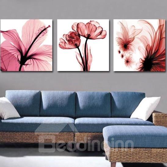 New Arrival Beautiful Pink Flowers and Stamen Print 3-piece Cross Film Wall Art Prints