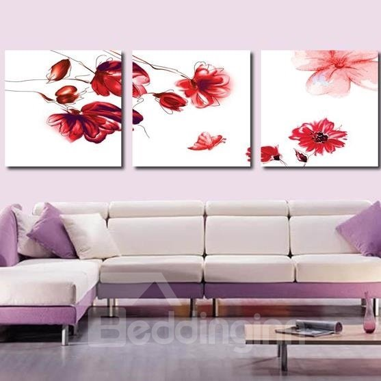 New Arrival Beautiful Red Flowers and Butterfly Print 3-piece Cross Film Wall Art Prints
