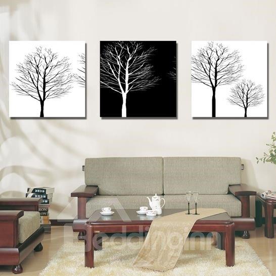 New Arrival Monochromatic Tree Print 3-piece Cross Film Wall Art Prints