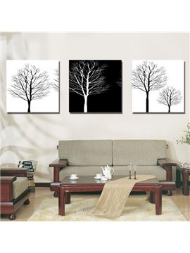New Arrival Monochromatic Tree Print 3-piece Cross Film Wall Art Prints