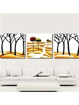 New Arrival Modern Trees on Desert Painting Print 3-piece Cross Film Wall Art Prints