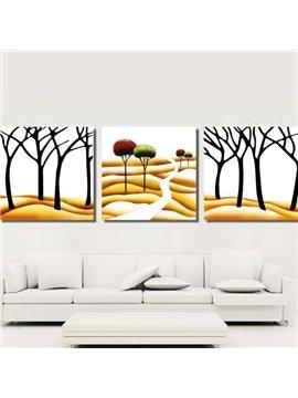 New Arrival Modern Trees on Desert Painting Print 3-piece Cross Film Wall Art Prints