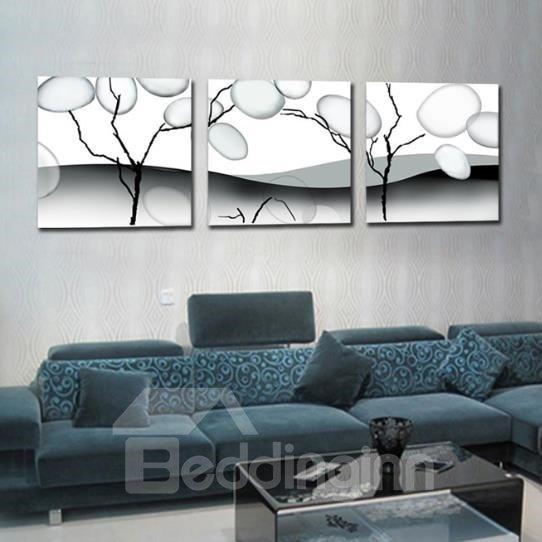 New Arrival Elegant Grey Tree Trunk and Bubbles Print 3-piece Cross Film Wall Art Prints