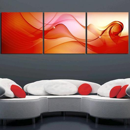New Arrival Modern Golden Red Patterns Print 3-piece Cross Film Wall Art Prints