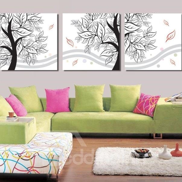 New Arrival Modern Lovely Tree and Leaves Print 3-piece Cross Film Wall Art Prints