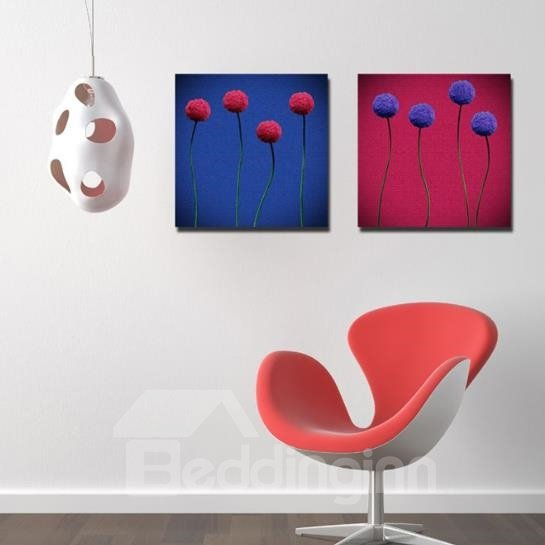 New Arrival Modern Style Lovely Blue and Red Flowers Print 2-piece Cross Film Wall Art Prints