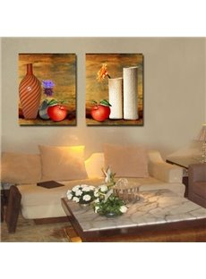 New Arrival Oil-painting Style Lovely Apples and Pottery Print 2-piece Cross Film Wall Art Prints