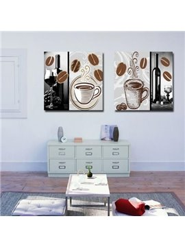 New Arrival Lovely Coffee and Wine Print 2-piece Cross Film Wall Art Prints