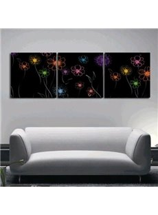 New Arrival Lovely Small Colorful Flowers Print 3-piece Cross Film Wall Art Prints