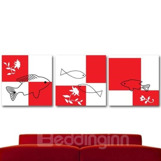 New Arrival Lovely Stick Figures of Fish Print 3-piece Cross Film Wall Art Prints