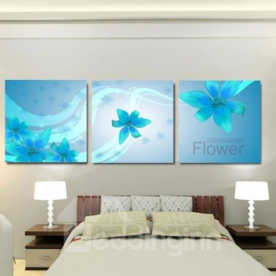 New Arrival Beautiful Blue Lily Flowers Print 3-piece Cross Film Wall Art Prints