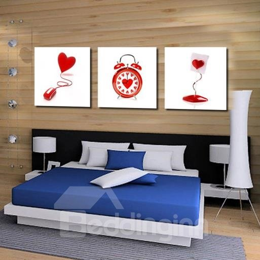 New Arrival Lovely Red Heart Clock and Lamp Print 3-piece Cross Film Wall Art Prints
