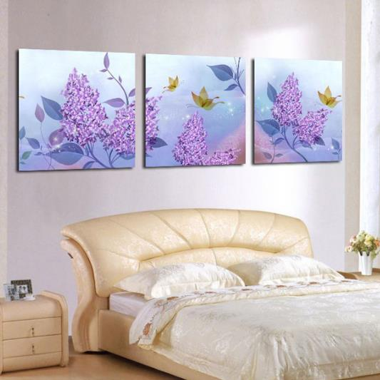 New Arrival Beautiful Purple Flowers and Leaves Print 3-piece Cross Film Wall Art Prints 10886654