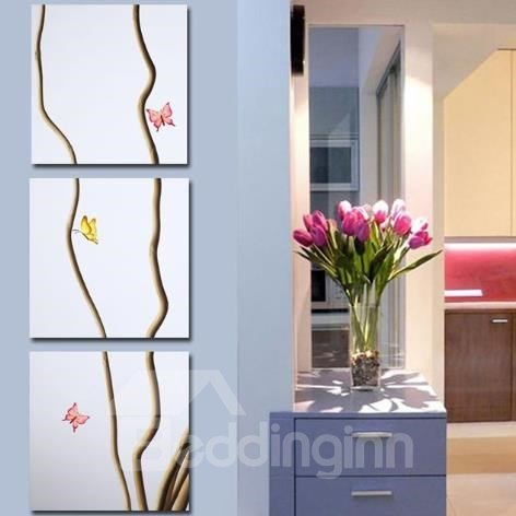 New Arrival Elegant Butterflies and Sticks Print 3-piece Cross Film Wall Art Prints