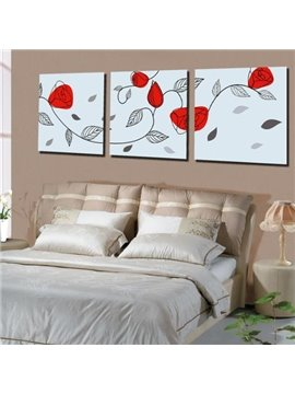 New Arrival Lovely Stick Figure of Red Flowers Print 3-piece Cross Film Wall Art Prints