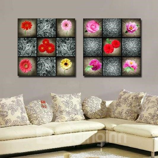 New Arrival Lovely Flowers Sudoku Print 2-piece Cross Film Wall Art Prints