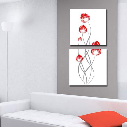 New Arrival Modern Stick Figure of Flower Print 2-piece Cross Film Wall Art Prints