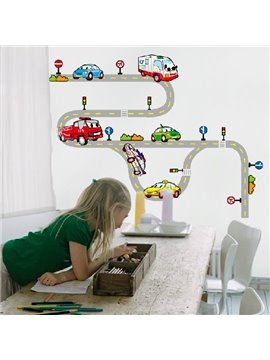 New Arrival Lovely Cars on Road Cartoon Print Wall Stickers For Kids