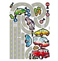 Lovely Cars on Road Cartoon Print For Kids Room Decoration Wall Stickers