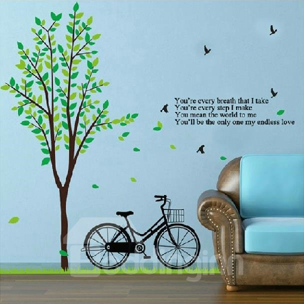 New Arrival Lovely Green Tree and Bicycle Print Big Wall Stickers