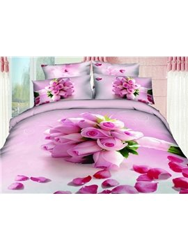 New Arrival Beautiful Light Purple Roses Bouquet Print 4 Piece Bedding Sets