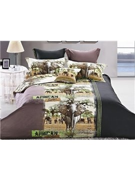 New Arrival Beautiful Elephant Print 4 Piece Bedding Sets